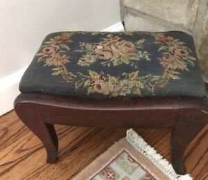 Antique Needle Point Petite Foot Stool Bench Blue Floral 12x9x8