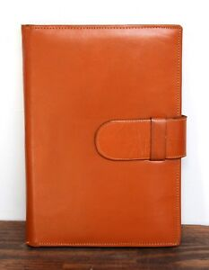 7 5 x10 5 Vintage Tan Brown Genuine Leather Notes Id Card Notebooks Organizer