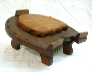 Carved Antique Horseshoe Shaped Footrest Texas Folk Art Old Alligatored Finish