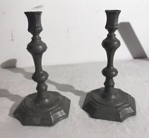 Pr 18th Century Pewter English Candlesticks Signed And Dated