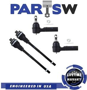 4 Pc Front Inner Outer Tie Rod End For Chevy Silverado Gmc Sierra 2500 3500 Hd