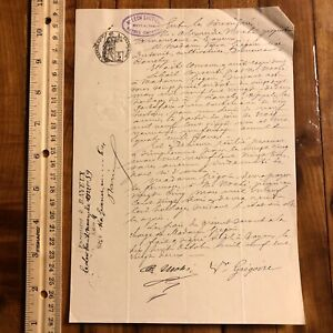 Authentic 1800 S French Sealed Document Legal Works Paper Handwritten Letter Old