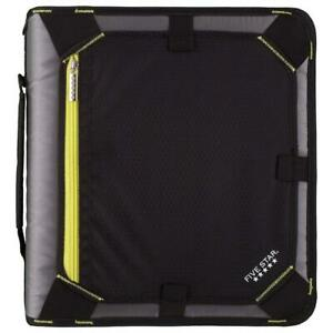 Five Star 2 Inch Zipper Binder Expansion Panel Durable Yellow Black