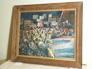 Yonia Fain Original Expressionist Painting Mid Century Master Signed Listed