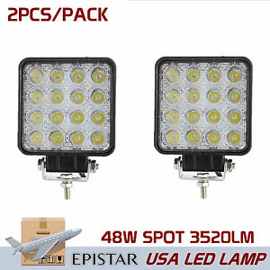 2x 48w Led Work Lights Spot Lamp Offroad Atv Suv Car Boat Truck 12v 24v Square