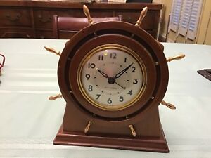 Vintage 1940 S Seth Thomas Ship Wheel Wood Brass Clock Works Great
