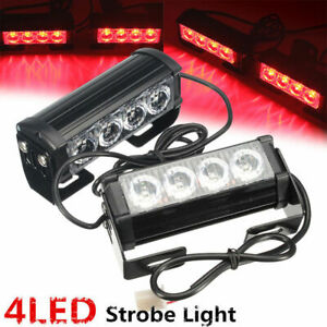 4 Led 12v Car Strobe Flash Grille Light Warning Hazard Emergency Lamp Bars Red