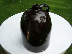 Stoneware Four Gallon Scratch Jug Dark Brown Albany Glaze Beehive Uncommon Size