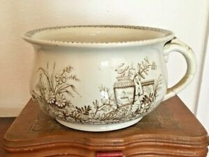 Vintage Tunstall Cream And Brown Antique Porcelain Chamber Pot Made In England