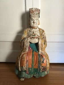 Phenomenal Large Antique Sitting Chinese Wood Buddha 32 Tall Chinese Ancestor