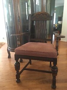 Antique Ornate Wood Acorn Leaves Arm Chair Dinning Desk Accent Piece Sturdy