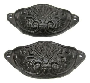 Set 2 Rustic New 4 Cast Iron Small Drawer Bin Cup Pulls Handles Cupboard