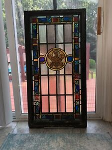 Antique Vintage Stained Glass Church Window St John 44 X 22