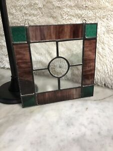 Vintage Stained Glass Suncatcher 8x8