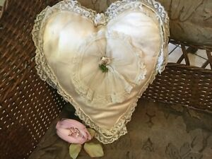 Antique Vintage Silk With Tambour Lace Heart Shape Bridal Wedding Ring Pillow