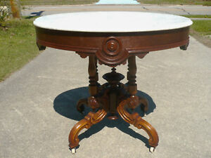 Victorian Rococo Marble Top Center Lamp Table C 1860