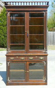 Tiger Oak Step Back China Cabinet Bookcase Display Cabinet Circa 1890