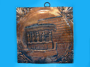 Amazing Vintage Copper Wall Plaque Ancient Temple Ruins