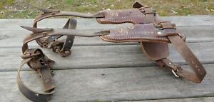 Vintage Melling Forging Co Pole Climbing Spikes Buckingham 3125 Leather T Pads
