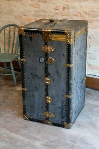 Antique Mendel Wardrobe Steamer Trunk Luggage Chest Vintage Coffee Table Brass