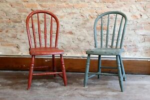 Set Of 2 Antique Primitive Farmhouse Table Chairs Carved Wood Legs Americana Vtg