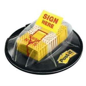 Post it Yellow sign Here Message Flags In Desk Grip Dispenser 1x1 7 10 200 pk