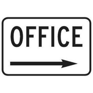 Office Sign With Right Arrow Reflective 18 X 12