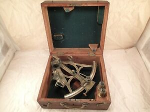 Antique J E Hand Sons Phila Brass Rosewood Nautical Navigational Sextant