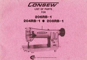 Consew 204rb 1 206rb 1 And 208rb 1 Parts Manual In Acrobat Pdf Format