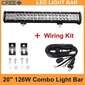 20inch 126w Cree Led Light Bar Work Driving Offroad Combo Beam wiring Kit 12v24v