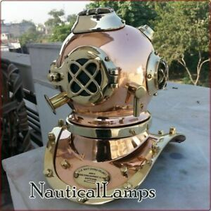 Mini U S Navy Solid Copper And Brass Divers Diving Helmet Vintage Reproduction