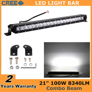 21inch 100w Led Offroad Light Bar Slim Single Row Combo Ford Boat Fog 4wd 22 20