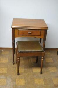Empty Vintage Singer Sewing Machine Cabinet 56 W Stool