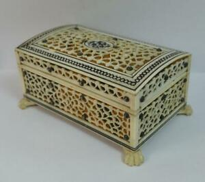 Victorian Anglo Indian Top Quality Faux Tortoiseshell Jewellery Casket Box P51