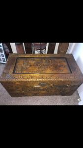 Antique Asian Chinese Hand Carved Trunk Chest Exquisite