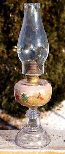 Antique 1880s 90s Hand Painted Glass Font Victorian Eapg Oil Lamp Gwtw