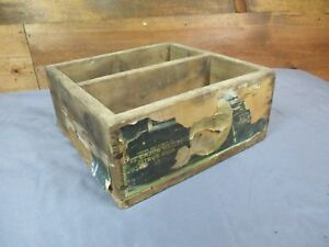 Old Primitive Vintage Wood Sunkist Citrus Box 2 Compartment Display Crate