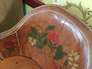 Norwegian Kubbestol Tree Trunk Chair Signed Nils Lindroth Antique Painted