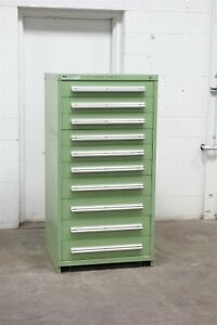 Used Vidmar 10 Drawer Cabinet Industrial Tool Storage 1679 Green