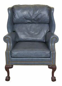 47242ec Hancock Moore Blue Leather Ball Claw Wing Chair