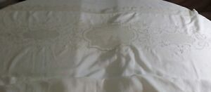 Antique French Bed Linen Sheet Handmade Lace Embroidery Trousseau Pristine
