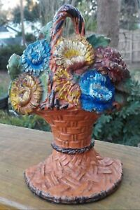 Antique Art Deco Cast Iron Chrysanthemum Flowers Basket Doorstop Old Paint C1925