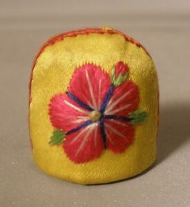 Silk Embroidered Floral Thimble Holder