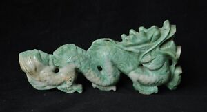 Vintage Chinese Carved Jade Dragon Sculpture 476g Antique Jadeite Nephrite