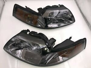 For 1999 2004 Ford Mustang Smoked Lens Headlight Lamps Amber Corner Reflector