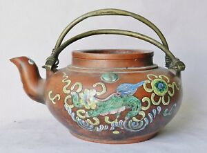 Antique Chinese 1800 S Enameled Yixing Teapot Brass Handles Crane Mark