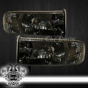 1994 2001 Dodge Ram 1500 Pickup Truck Smoked Lens Head Lights Lamps Pair L r