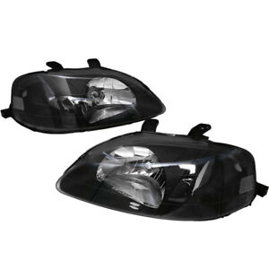 Euro Black Housing Clear Lens Reflector Headlight Lamp For 99 00 Honda Civic