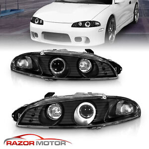 Led Halo 1997 1998 1999 Mitsubishi Eclipse Black Projector Headlights Pair