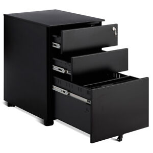 3 Drawer Filing Cabinet Locking Pedestal Under Desk Home Office W wheels Black